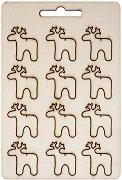 Фигурки от шперплат - Еленчета - Комплект от 12 броя с размери 2.5 x 2.8 cm