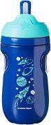 """Синя неразливаща се термо-чаша със сламка - Insulated Straw Tumbler 260 ml - От серията """"Explora"""" за бебета над 12 месеца -"""
