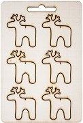 Фигурки от шперплат - Еленчета - Комплект от 6 броя с размери 3.5 x 4 cm