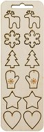 Фигурки от шперплат - Коледни мотиви - Комплект от 12 броя