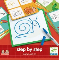 """Нарисувай сам - Животни - Творчески комплект от серията """"Step By Step"""" - играчка"""