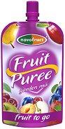 Забавна плодова закуска - Ябълки, круши, сливи и вишни - Опаковка от 120 g за деца над 3 години -