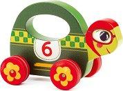 Костенурчето Скорострелко - Дървена играчка на колелца -