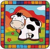 Крава - Дървен пъзел с подложка за най-малките -