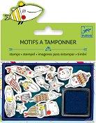 Силиконови печати - Забавни риби - Комплект от 14 броя и мастило - продукт