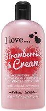 """Душ крем и пяна за вана с аромат на ягоди и сметана - 2 в 1 - От серията """"I Love Strawberries & Cream"""" -"""