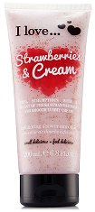 """Ексфолиант за тяло с аромат на ягоди и сметана - От серията """"I Love Strawberries & Cream"""" -"""