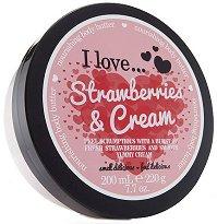 """Подхранващо масло за тяло с аромат на ягоди и сметана - От серията """"I Love Strawberries & Cream"""" - душ гел"""