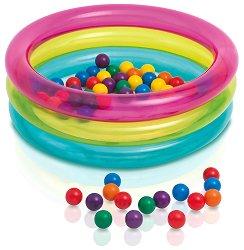 Бебешки басейн - Надуваема играчка с пластмасови топки - творчески комплект