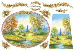 Декупажна хартия - Есенен пейзаж 068 - Размери 48 x 33 cm