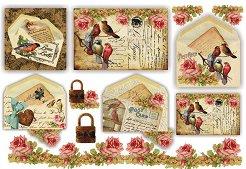 Декупажна хартия - Пощенски картички 202 - Размери 48 x 33 cm
