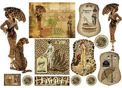 Декупажна хартия - Леопардова жена 204 - Размери 48 x 33 cm
