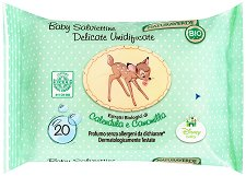 Бебешки мокри кърпички с екстракти от невен и лайка - Bio Disney Baby - Опаковка от 20 броя -