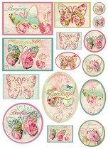 Декупажна хартия - Пеперуди с рози 070 - Формат А4