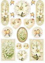 Декупажна хартия - Цветя и птици 081 - Формат А4
