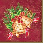 Салфетки за декупаж - Коледни камбани - Пакет от 20 броя
