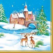 Салфетки за декупаж - Коледен пейзаж - Пакет от 20 броя