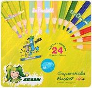 Цветни моливи - Kinderfest Pastell Mix - Комплект от 24 броя в метална кутия