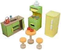 Кухня - Комплект детски дървени мебели за куклена къща -