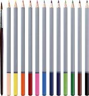 Цветни акварелни моливи - Комплект от 12 цвята и четка в метална кутия