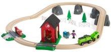Детски влак с релси - Ферма за коне - Дървена играчка с аксесоари - играчка
