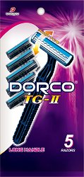 Dorco TG-II - Мъжка самобръсначка за еднократна употреба в опаковка от 5 броя - шампоан