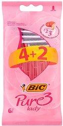 BIC Pure 3 Lady - Дамска самобръсначка с 3 остриета - опаковка от 4 + 2 броя подарък -