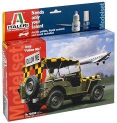 Военен джип - Jeep Follow Me - Сглобяем модел - комплект с лепило и бои -
