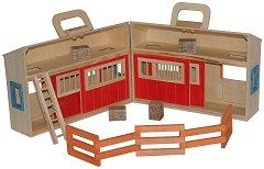 Конюшня - Детска дървена играчка с аксесоари в куфарче - фигура