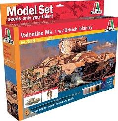Танк Valentine Mk. I и британски пехотинци - Сглобяем модел - комплект с лепило и бои -