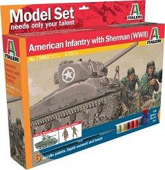 Танк Sherman М4 А1 и американски пехотинци - Сглобяем модел - комплект с лепило и бои -