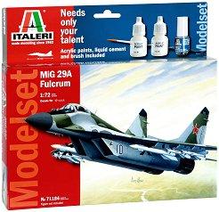 Военен самолет - МиГ-29A Fulcrum - Сглобяем модел - комплект с лепило и бои - макет
