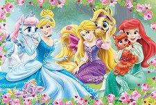 Принцесите на Дисни с домашни любимци - Детски пъзел с големи елементи - пъзел