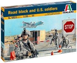 Военен пътен пост и американски войници - Сглобяем комплект - сграда и фигури -