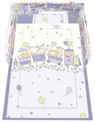Спален комплект за бебешко креватче - Happy Train: Violet - 5 части с олекотена завивка -