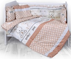 Спален комплект за бебешко креватче - Lilli: Friends Beige - 4 части, за матрак с размери 60 x 120 cm -