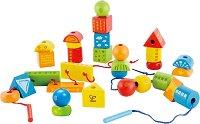 Дървени фигури - Детски комплект за нанизване - играчка