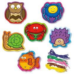Животни - Образователни играчки за нанизване - творчески комплект