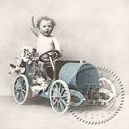 Салфетки за декупаж - Момче на ретро кола - Пакет от 20 броя