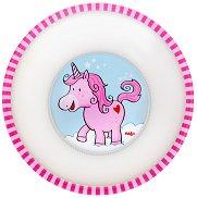 """Детска меламинова купичка за хранене - От серията """"Еднорози в облаците"""" за бебета над 6 месеца -"""