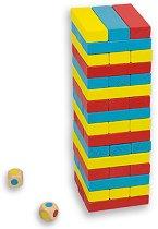Дженга със зарове - Игра с цветни дървени елементи за подреждане -