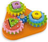 Зъбни колела - Детска дървена играчка с форми за нареждане -