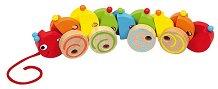 Гъсеница - Детска дървена играчка за дърпане -