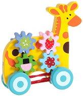 Жираф - Детска дървена играчка за дърпане с аксесоари -