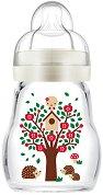 Бяло стъклено шише за хранене - Feel Good 170 ml - Комплект със силиконов биберон размер 1 -