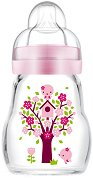 Розово стъклено шише за хранене - Feel Good 170 ml - Комплект със силиконов биберон размер 1 - биберон