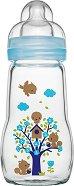 Стъклено шише за хранене - Feel Good 260 ml - Комплект със силиконов биберон размер 2 за бебета над 2 месеца -