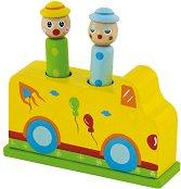 Цирк - Детска дървена играчка с изскачащи елементи -