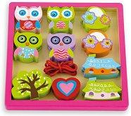 Бухали - Детска играчка с дървени елементи за нанизване -