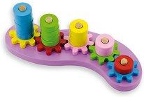 Разпознавай цветовете и брой - Образователна дървена играчка със зъбни колела -